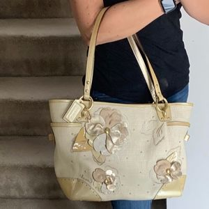 Limited Edition Coach Straw Tote with Gold Flowers